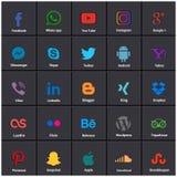 Medios iconos sociales populares por ejemplo: Facebook, Twitter, Blogger, ilustración del vector