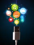 Medios iconos sociales que salen del cable eléctrico Imagenes de archivo