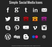 20 medios iconos sociales simples hermosos fotografía de archivo