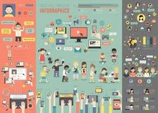 Medios Infographic social fijó con las cartas y otros elementos stock de ilustración