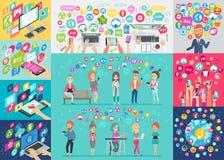 Medios Infographic social fijó con las cartas y otros elementos ilustración del vector
