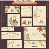 Medios jefe o posts sociales para la celebración de Eid Foto de archivo
