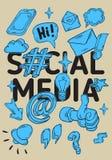 Medios línea incompleta dibujada mano artística social Art Style Drawings Illustrations Icons de la historieta y cartel de los sí Imágenes de archivo libres de regalías