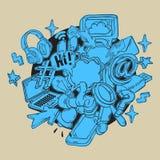 Medios línea incompleta dibujada mano artística social Art Style Drawings Illustrations Icons de la historieta y diseño de los sí Imagen de archivo libre de regalías