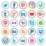 Medios línea y colorido redondeada iconos sociales stock de ilustración