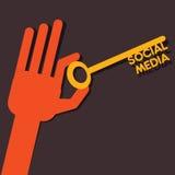 Medios llave social de la palabra Imagen de archivo libre de regalías