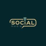 Medios logotipo social Coloree el diseño oscuro marrón y verde del vector con el icono inalámbrico Imagen de archivo