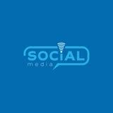 Medios logotipo social Diseño azul del vector del color con el icono inalámbrico imagen de archivo