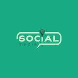 Medios logotipo social Diseño verde claro del vector del color con el icono inalámbrico Imagen de archivo libre de regalías
