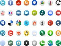 Medios logotipos sociales de la muestra del establecimiento de una red libre illustration