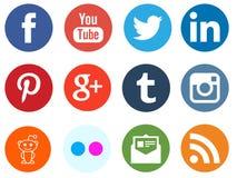Medios logotipos sociales de la red Fotos de archivo libres de regalías