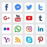 Medios logotipos sociales populares fijados ilustración del vector