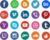 Medios logotipos sociales redondos de la muestra del establecimiento de una red Foto de archivo libre de regalías