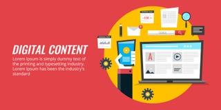 Medios márketing de Digitaces, promoción del contenido digital, estrategia del contenido web Bandera plana del vector del diseño stock de ilustración