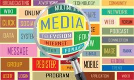 Medios nube de la etiqueta stock de ilustración
