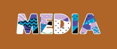 Medios palabra Art Illustration del concepto stock de ilustración