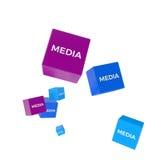 MEDIOS palabra en los cubos coloreados, concepto creativo del negocio Fotos de archivo libres de regalías