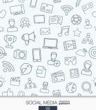 Medios papel pintado social Modelo inconsútil de la comunicación de la red Fotos de archivo libres de regalías