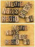 Medios periodismo de la prensa TV de la radio de las noticias fotos de archivo