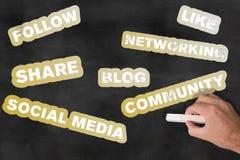 Medios pizarra social del concepto foto de archivo