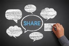 Medios pizarra social del concepto con el hombre de negocios Hand Fotos de archivo libres de regalías