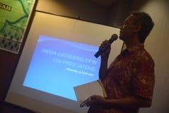 Medios que recolectan al instituto islámico indonesio de la propagación (LDII) Foto de archivo libre de regalías
