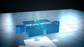 Medios rompecabezas social que cae en lugar ilustración del vector