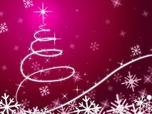 Medios rosados del fondo del árbol de navidad que nievan y que congelan Foto de archivo libre de regalías