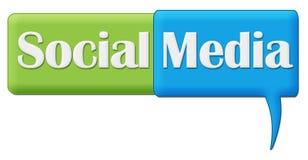 Medios símbolo azulverde social del comentario Foto de archivo