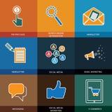 Medios, seo y comercio electrónico de comercialización, sociales - iconos del vector del concepto Fotos de archivo libres de regalías
