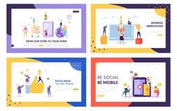 Medios sistema móvil social de la extremidad y de la página del aterrizaje de la tendencia Innovación del negocio de Digitaces de stock de ilustración