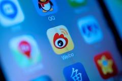 Medios sociales chinos de Weibo Imágenes de archivo libres de regalías