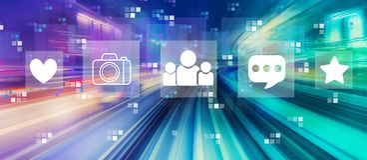 Medios sociales con la falta de definici?n de movimiento de alta velocidad stock de ilustración
