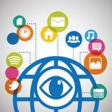 medios sociales de la comunicación global del ojo conectados libre illustration