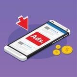 Medios sociales de la publicidad móvil patrocinados Fotografía de archivo