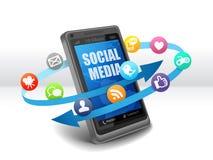 Medios sociales en el teléfono móvil ilustración del vector