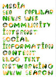 Medios sociales en Internet - palabras, etiquetas Foto de archivo libre de regalías