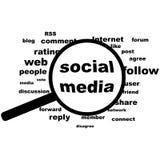 Medios sociales en pruebas stock de ilustración
