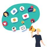 Medios sociales, establecimiento de una red y el mandar un SMS de charla Ingenio de la comunicación ilustración del vector
