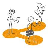 Medios sociales - figuras del palillo que comparten la información stock de ilustración