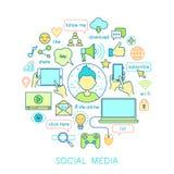 Medios sociales fijados - línea iconos Foto de archivo