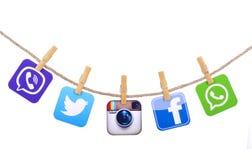 Medios sociales populares Imágenes de archivo libres de regalías