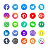 Medios sociales populares app e iconos del mensajero fijados libre illustration