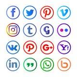 Medios sociales redondeados y colorfull