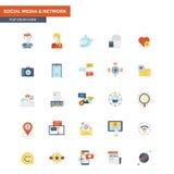 Medios sociales y red de los iconos planos del color stock de ilustración