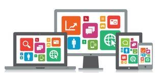 Medios tecnología App ilustración del vector