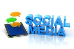 Medios texto social con la tableta digital y el discurso Imagen de archivo libre de regalías