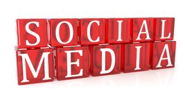 Medios texto social del cubo en el fondo blanco imagenes de archivo