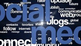 Medios texto social 4K del fondo azul-descolorido