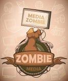 Medios zombis con la pantalla plana TV en vez de la cabeza label ilustración del vector